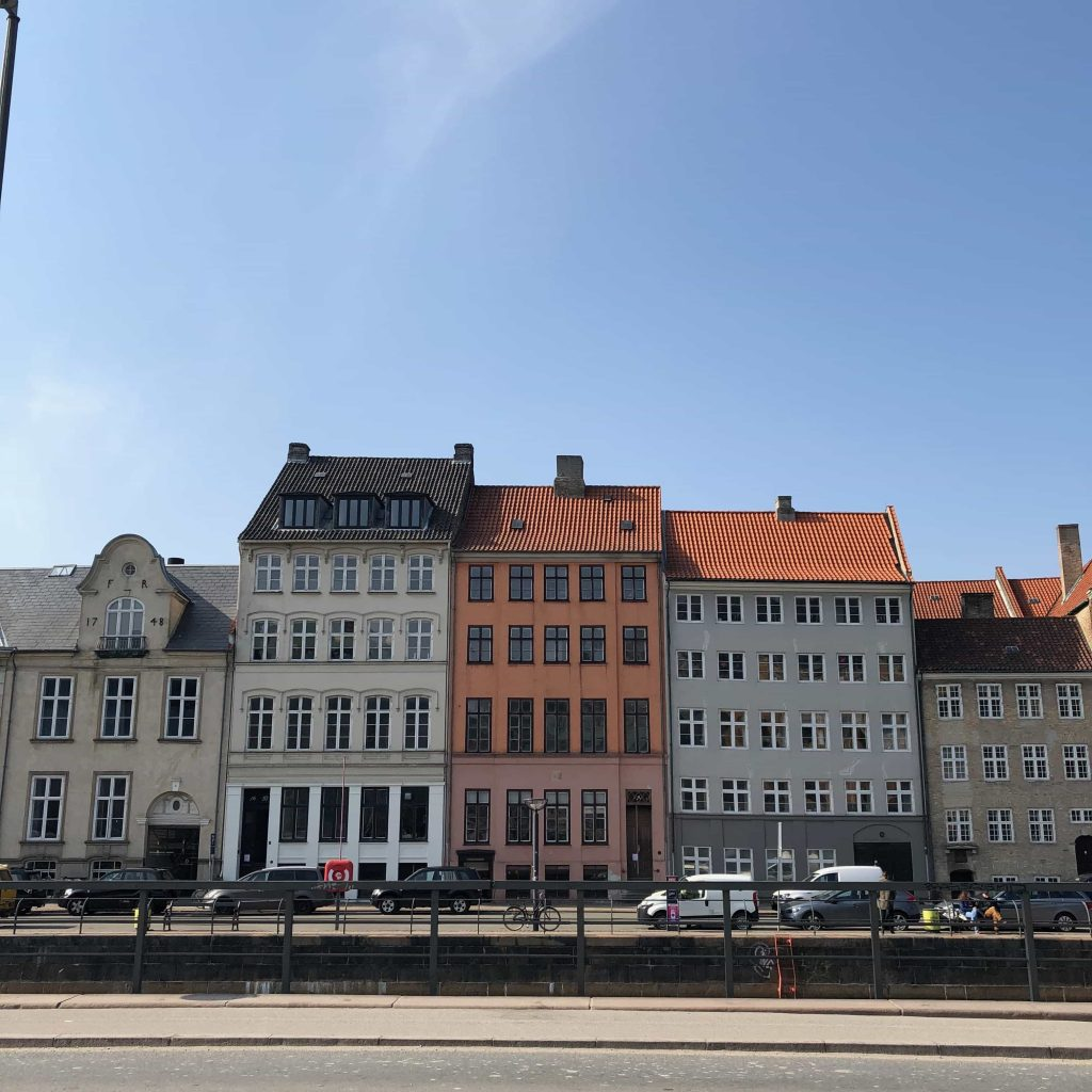 Pictures of typical houses on a sunny day in Copenhagen