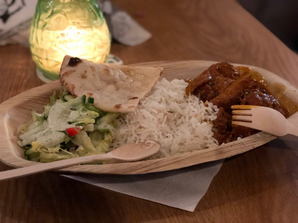 curry meal from the foodhallen in Amsterdam