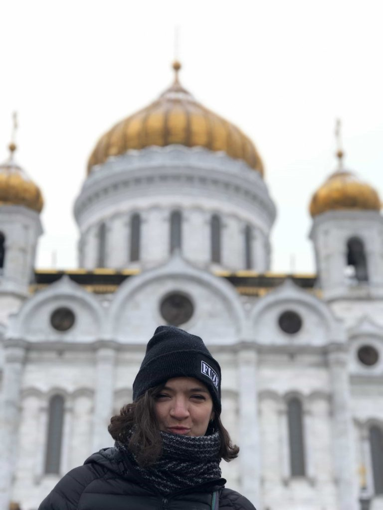 Girl in front of Cathedral of Christ the Saviour