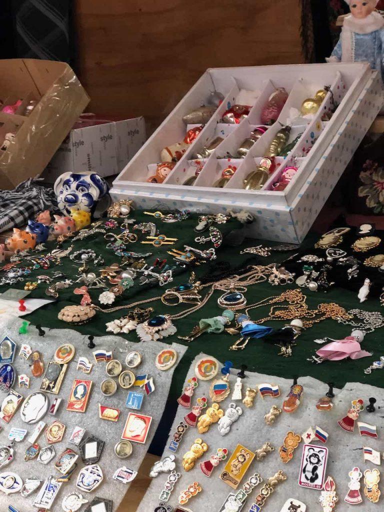 trinkets at izmailovsky market Moscow