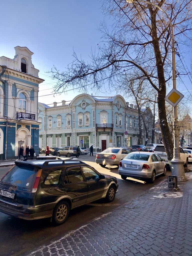 Pretty russian building on karl marx street irkutsk russia
