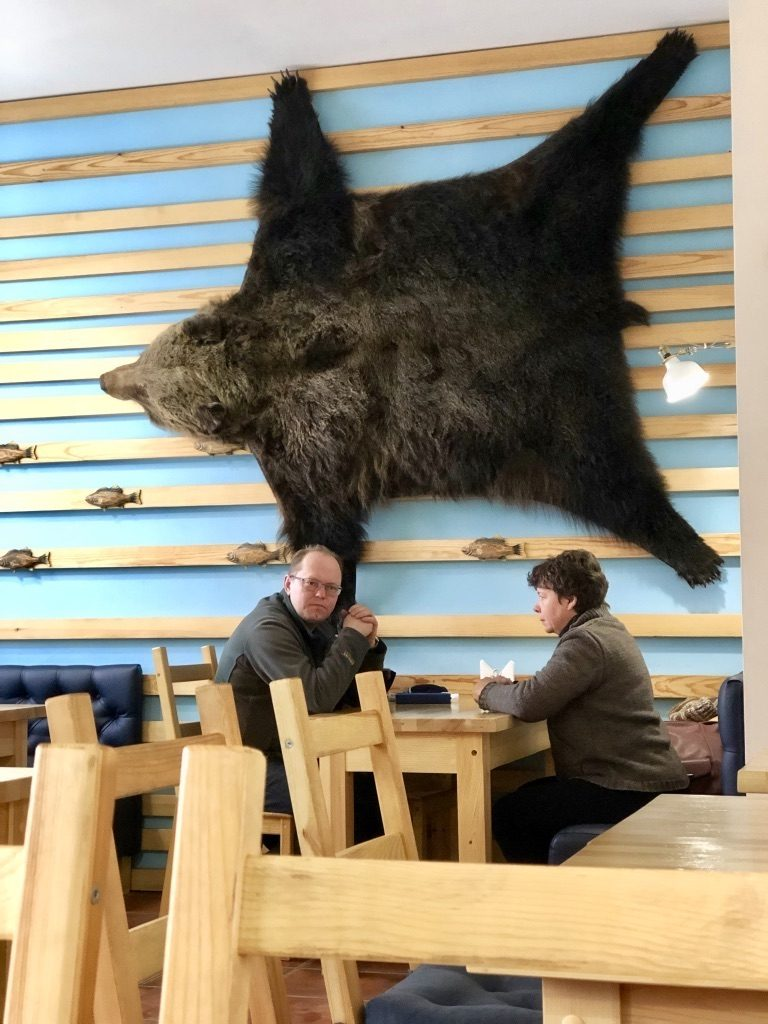 A Bear skin hanging from the wall Two Days In Irkutsk