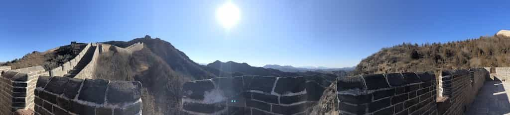 Panoramic view of the Great Wall of China in the sun