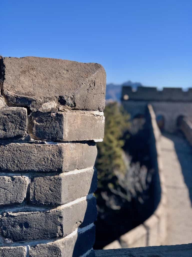 Close up of a turret on the Great Wall of china with it to ourselves