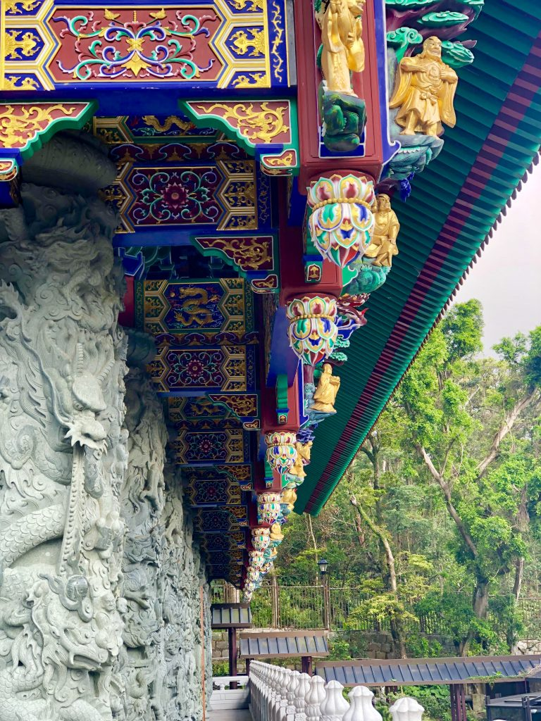 The decorated rook of Po Lin Monastery