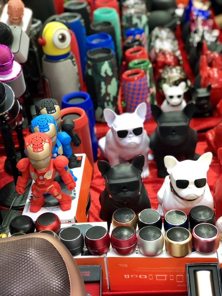 Novelty speakers for sale at the mong kok ladies market, Hong Kong. 4 Days in Hong Kong: Markets and Monasteries  www.thedancingcircustraveller.com