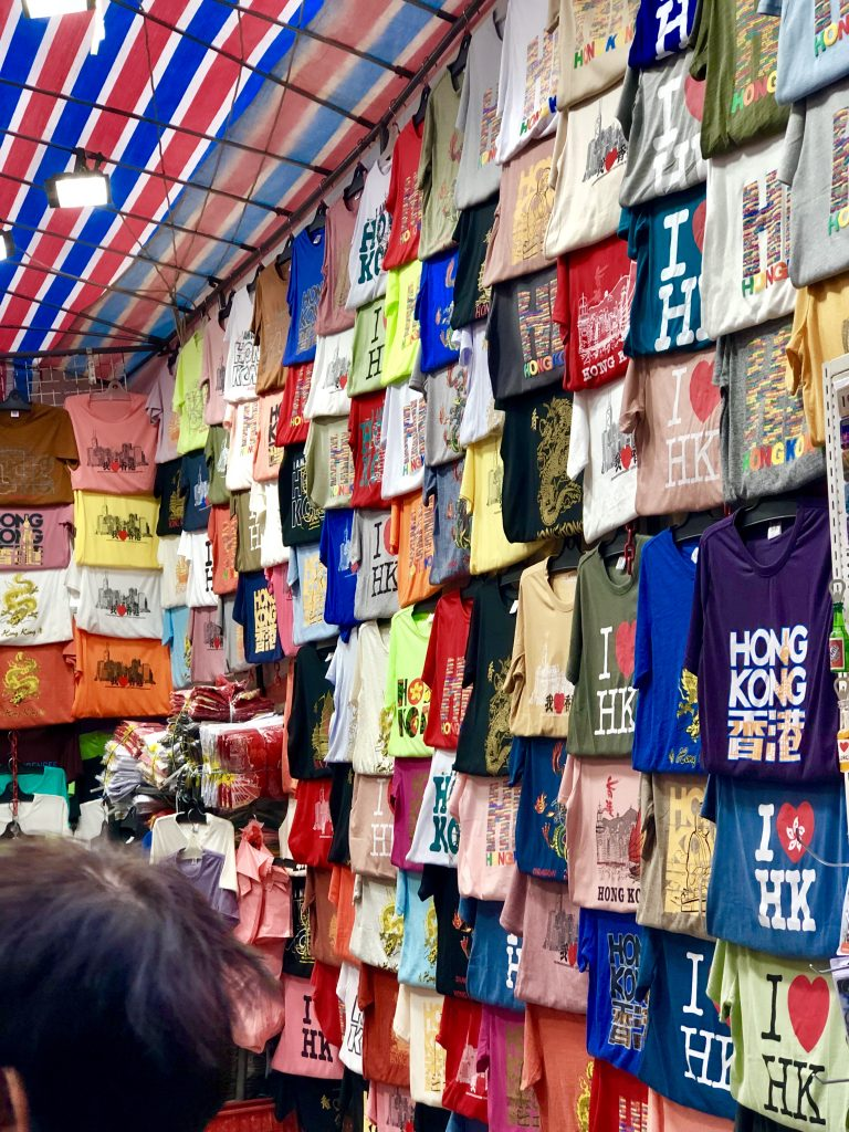 Tshirts for sale at the mong kok ladies market, hong kong. 4 Days in Hong Kong: Markets and Monasteries  www.thedancingcircustraveller.com