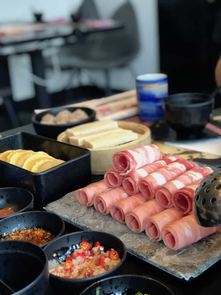 ham and other food from a hotpot in China